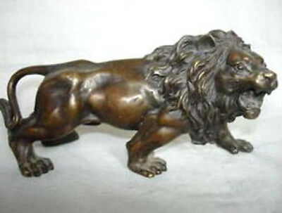 Collectible Tibet old copper lion statue figurine 15cm