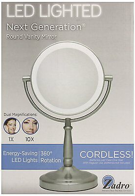 "Zadro 9"" Next Generation LED Cordless Double-Sided Round Vanity Mirror LEDMV410"