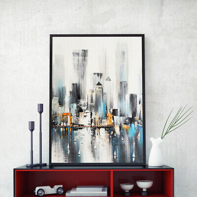 Hand-Painted Oil Painting - Rainy Harbor L | Modern Abstract Decor Unframed Wall