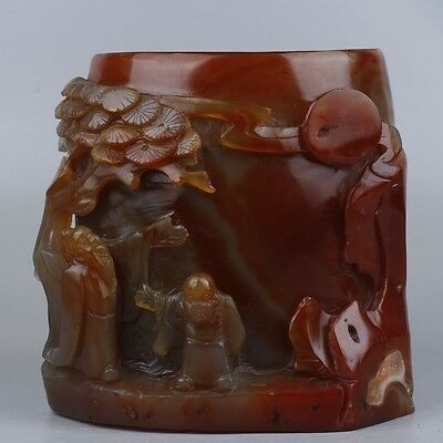 Very Fine  Chinese Natural Agate  Brush Pot Statue