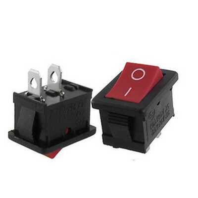 20pcs Mini AC 3A/250V ON-OFF I/O SPST 2 Pin Snap in Rocker Switch Red Button