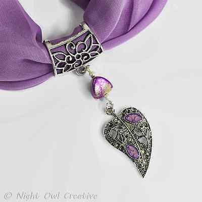 Handmade Scarf Ring-Hand Painted Leaf Charm-Purple-Lilac-Silver Stardust Beaded