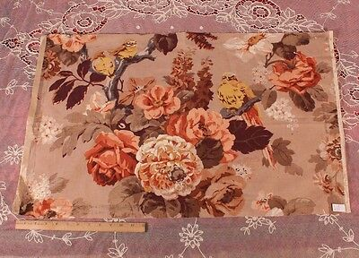 """Vintage French Linen Bird & Floral Home Fabric/Print~18""""LX31""""W~Pillow,HomeDec"""