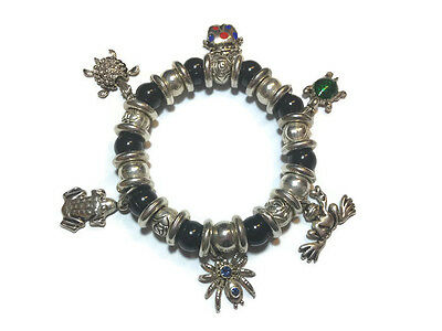 Charm Bracelet Peace Frog Spider Turtle Ladybug Silvertone Beaded Stretch Drop