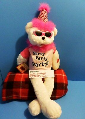 """Chantilly Lane Musicals White Party Bear Sings """"Party Started"""" 2001 (310-1789-1)"""