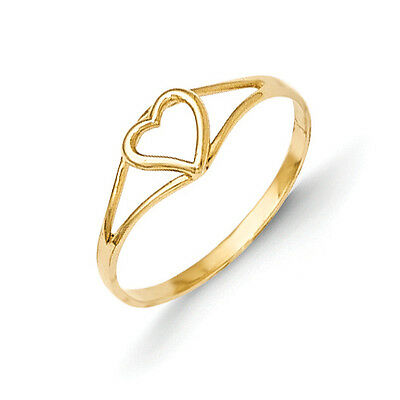 14K Yellow Gold Cut Out Heart Baby Ring Size 2 Madi K Children's Jewelry
