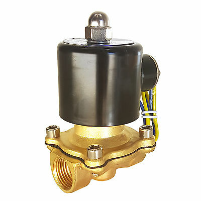 "HFS 12V DC 1/4"" Electric Solenoid Valve Water Air Gas, Fuels N/C - Brass"