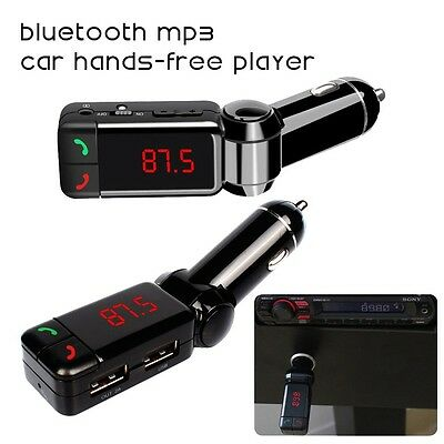In Car Bluetooth Handsfree Kit  FM Transmitter Dual USB Charger Aux Audio MP3 UK