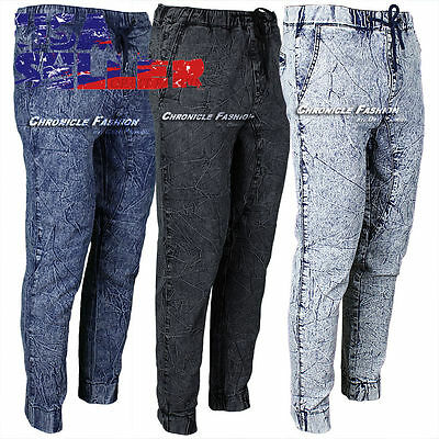 Mens Jogger Twill Denim Pants Wash Urban Casual Harem Hip Hop Elastic Trousers