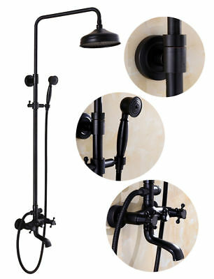"""Exposed Antique Brass 8""""Rainfall Shower Faucet With Hand Spray Tub Spout Mix Tap"""