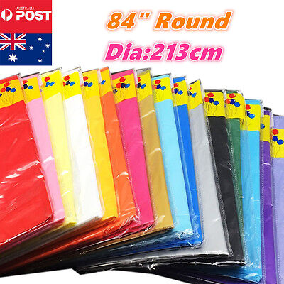 "84"" Round Plastic Table Cloth Colour Cover For Wedding Birthday Party Tablecover"