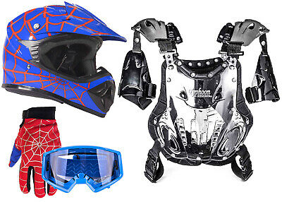 Youth SPIDERMAN Helmet PeeWee Motocross ATV Gloves Blue Goggles Chest Protector