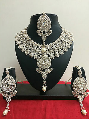 New Indian Bollywood Wedding Party Wear Necklace Earrings Costume Jewellery Set