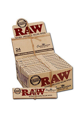 RAW Connoisseur King Size Slim Classic Rolling Papers + Tips Natural Hemp Gum