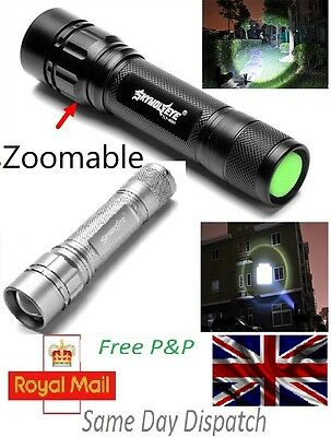 Zoomable 3000 LM 3 Modes CREE XML T6 LED 18650 Flashlight Lamp Focus Torch - UK