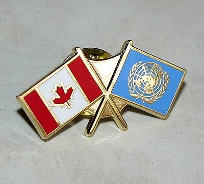 Canada - Canadian Peacekeepers & UN United Nations Gold Plated Flag Lapel Pin