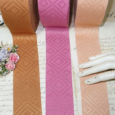 3y VTG DIAMOND PATTERN GROSGRAIN RIBBON PINK PEACH GOLD MILLINERY TRIM HAT
