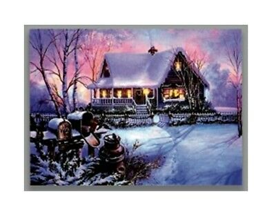 Premier LED Light Up Battery Operated Christmas Canvas Snowy House With Mail Box