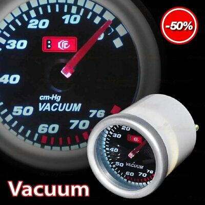 "DRIFT AUTO Gauge Meter 52mm/2.0"" SMOKED Lens WHITE Light RED Needle VACUUM RATIO"