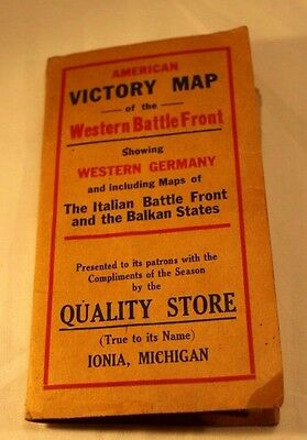Original American Victory Map of the Western Battle Front Showing Germany 1918