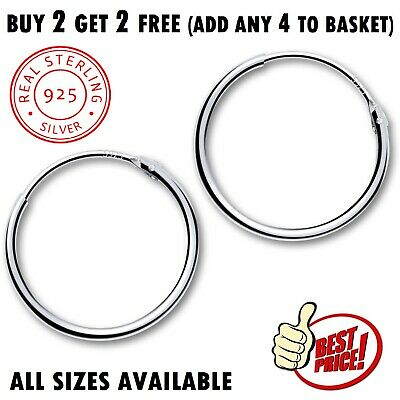 925 Sterling Silver Hoop Hinged Earrings Small Large Ladies Sleeper Studs Pairs