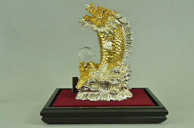 Chinese Zodiac Dragon Gold Plated Figurine Office Decoration Bronze Gift Deal