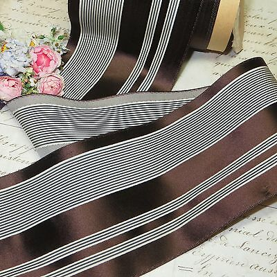 """1y 1930s ART DECO 3"""" FRENCH BROWN STRIPE MILLINERY COCARDE RIBBON for CLOCHE HAT"""