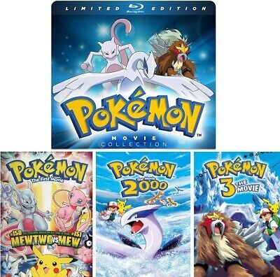Pokemon : Movie 1 2 3 Limited Edition Steelbook Case (Blu-ray, 2016, 3-Disc Set)
