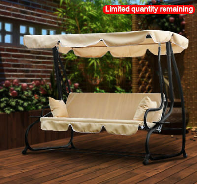 3 Seater Swinging Garden Hammock Swing Seat Chair Bench Luxury +2 Free Pillows