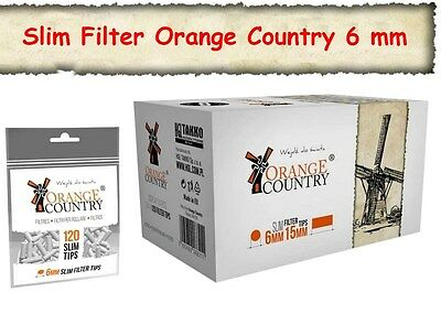 34 x120 stk ORANGE COUNTRY Slimfilter Drehfilter 6mm SLIM FILTER NEUWARE