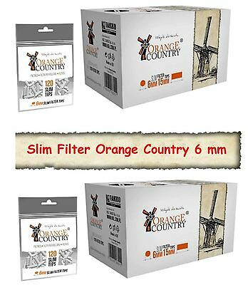 68 x 120 stk ORANGE COUNTRY Slimfilter Drehfilter 6mm SLIM FILTER NEUWARE