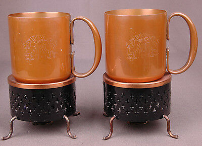VTG 2 Copper Moscow Mule Mugs/Base/Candle Holder Rivited-Engraved2 Kicking Mules