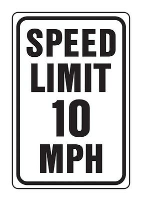"Hy-Ko Highway Sign White 12"" X 18"" Speed Limit 10 Mph Aluminum"