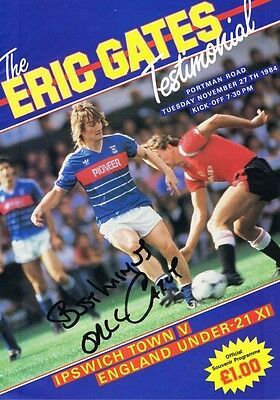 Signed Eric Gates Ipswich Town Autograph Testimonial Programme England U21