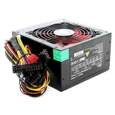 750W Black Computer PC PSU Power Supply 6 Pin PCI-E 120mm Red Cooling Fan