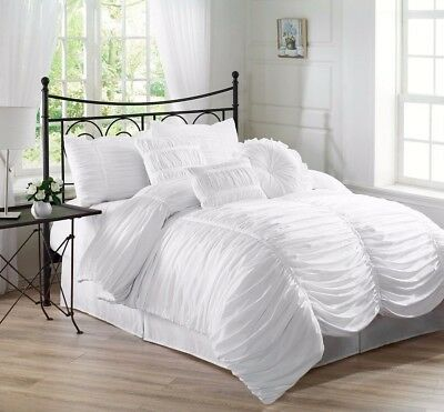 Chezmoi Collection 7-Piece Shabby Chic Ruffle Ruched Duvet Cover Set Queen White
