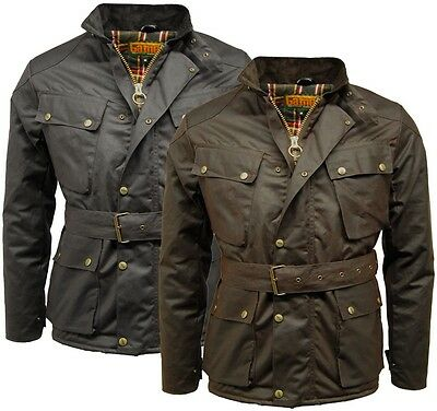 Men Game 100% Waxed Cotton Biker Jacket Speedway Quilted Bike Motorcycle Jacket
