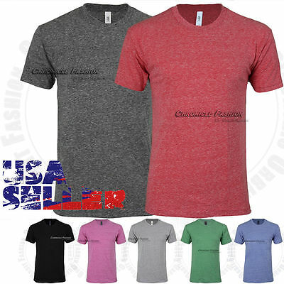 Tri Blend T Shirts Crew Neck Short Sleeve Soft Casual Plain Tee Slim Fit Solid