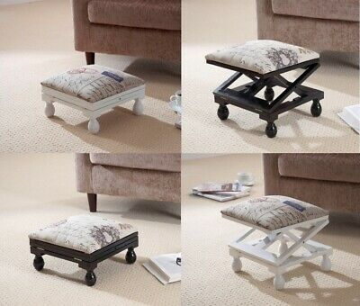 Adjustable Footstool 3 Position Padded Footstool Tapestry Style Wooden