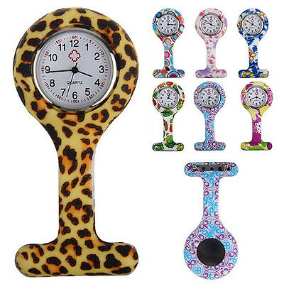 Pretty Patterned Silicone Nurses Brooch Tunic Fob Pocket Watch Stainless Dial