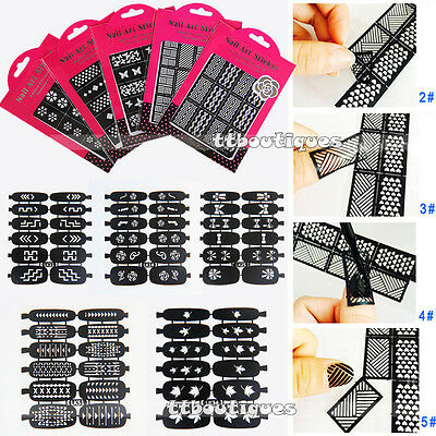 Nail Art Stencils Stickers Nail Stamping Guide Tool ALL Styles Manicure Nail Tip
