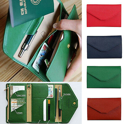 Unisex Leather Passport Case Cover Travel Wallet ID Card Holder Organizer Clutch