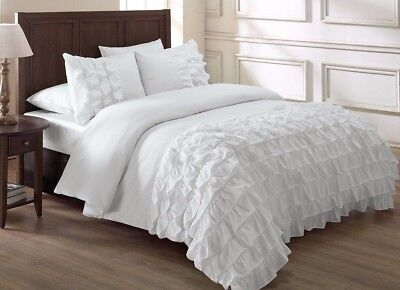 Chezmoi Collection 3-Piece Ella Waterfall Ruffle Duvet Cover Set Queen, White