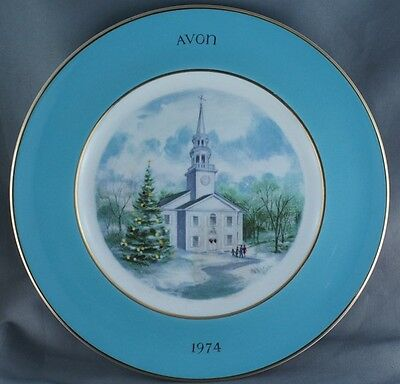 Avon Christmas Country Church Collector Plate  1974 Wedgwood