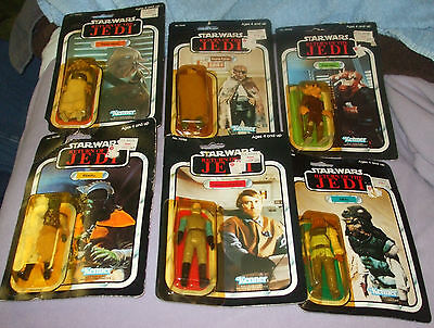 1983 6 Star Wars ROTJ Figures on either 65 or 77 Backs. Cards which show ware.