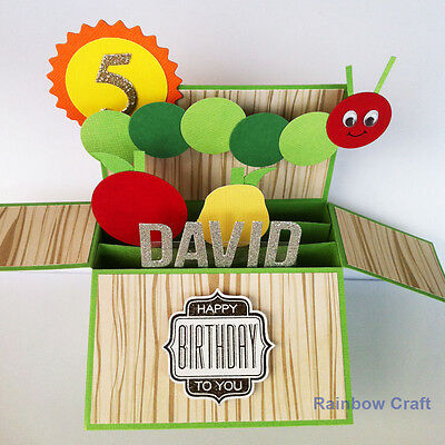 Name Age Personalized Handmade Birthday Card For Kids Baby Hungry Caterpillar