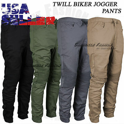 Mens Twill Biker Jogger Pants Moto Casual Slim Fit Casual Elastic Harem Trousers