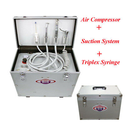 Portable Dental Turbine Unit + Air Compressor +Suction System + Triplex Syringe