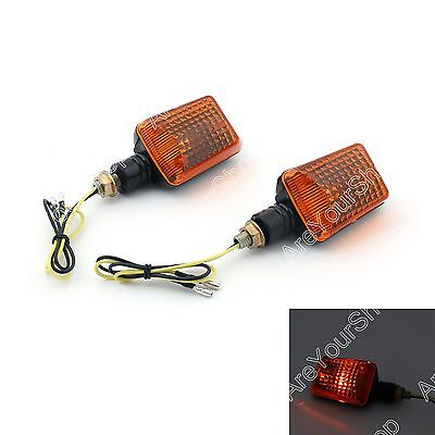 2 x Universal Motorcycle Turn Signal Light Lamp Blinkers Short Stalk Amber Lens