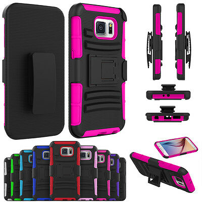 Hybrid Rubber ShockProof  Belt Clip Kickstand Case Cover For Samsung Galaxy S6